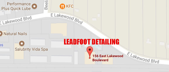 LEADFOOT DETAILING IS LOCATED ON EAST LAKEWOOD BLVD. APPROXIMATELY 1/8TH OF A MILE EAST OF BEELINE RD.