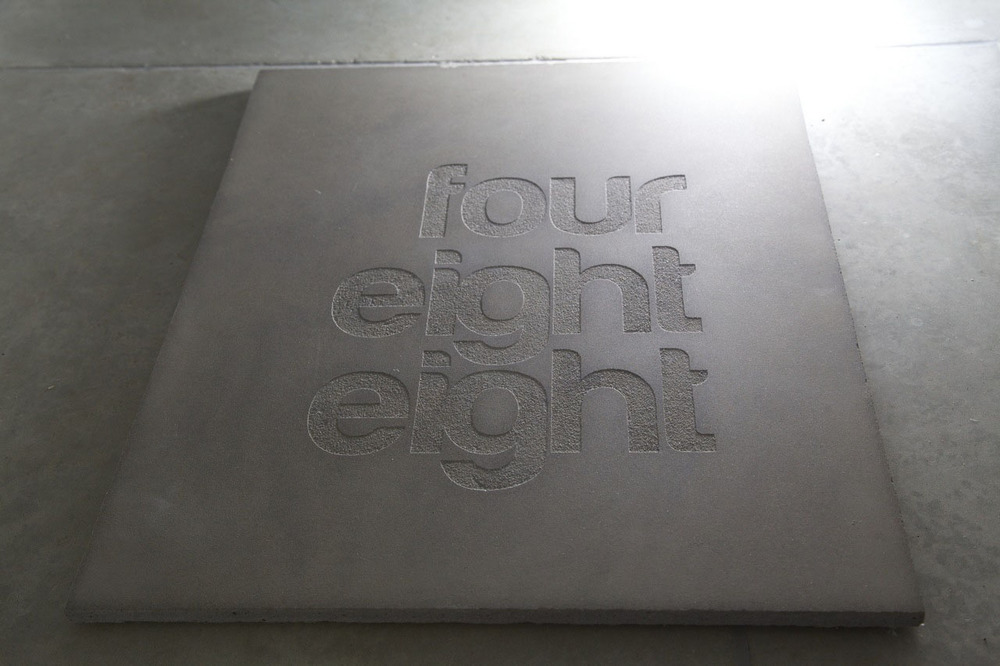 Green Etched Concrete Sign