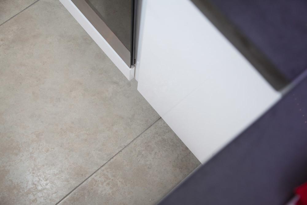 Concrete Floor tiles with concrete worktop
