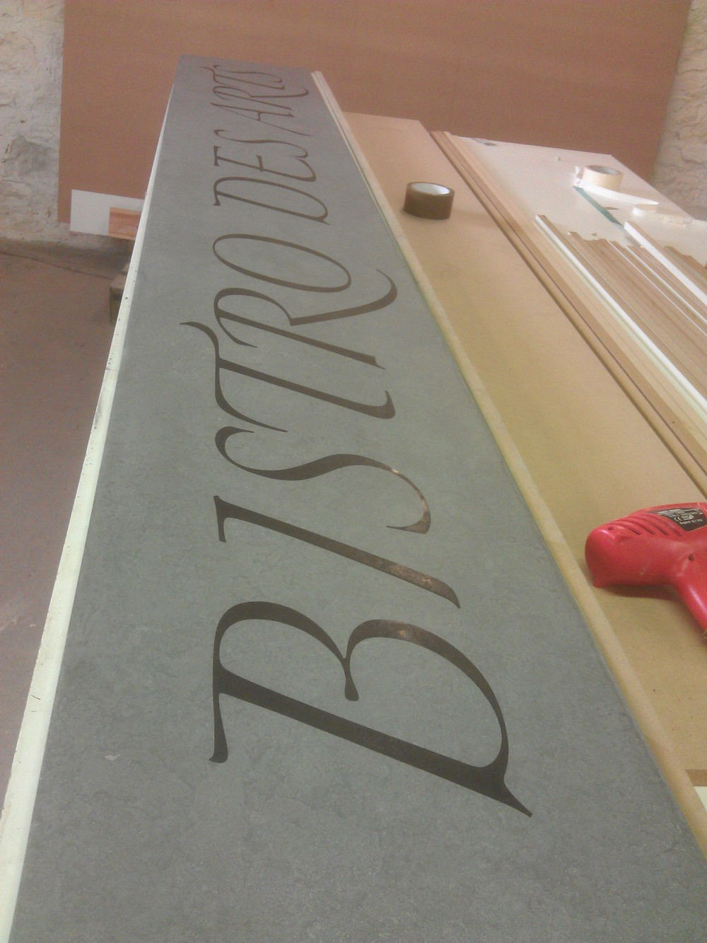 Concrete Floor Sign With Text