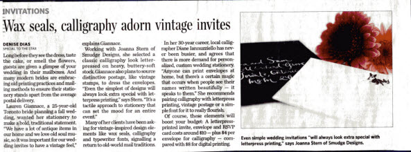 Featured in the Toronto Star Wedding Insert on Saturday, Jan. 29th, 2011.