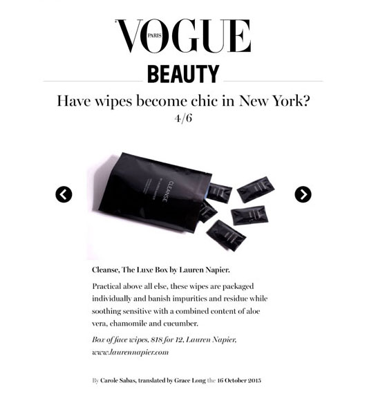 Vogue Paris, BEAUTY WORLDWIDE BEAUTY Have wipes become chic in New York?