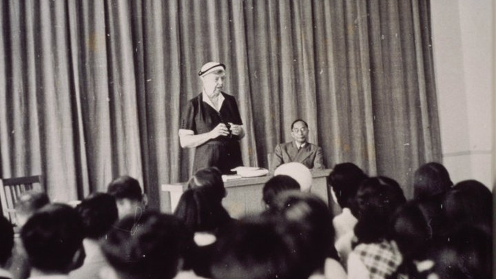 Eleanor Roosevelt spoke about the UN Declaration of Human Rights at ICU's first commencement address in 1953. ICU's first President Dr. Hachiro Yuasa is seen seated behind Mrs. Roosevelt.