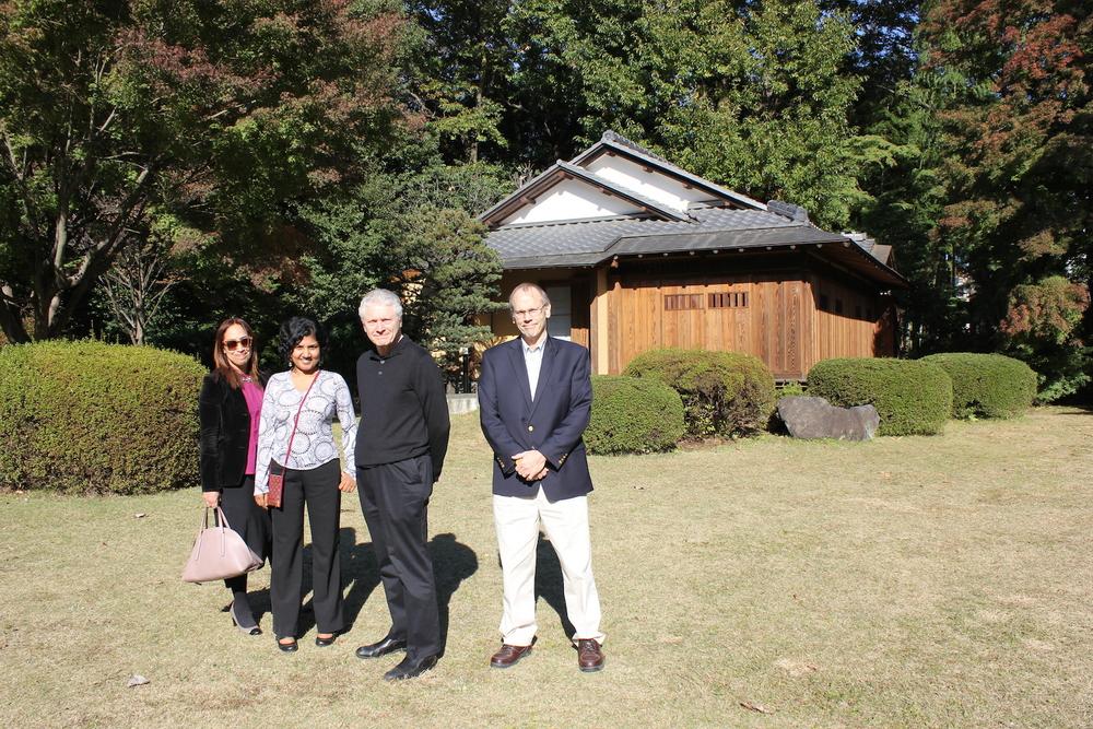 R:L - Nela Navarro (Rutgers University), Kanchuka Dharmasiri (University of Peradeniya),John Biguenet (Loyola University) and Alex Hinton (Rutgers University) in ICU's Taizanso Gardens.