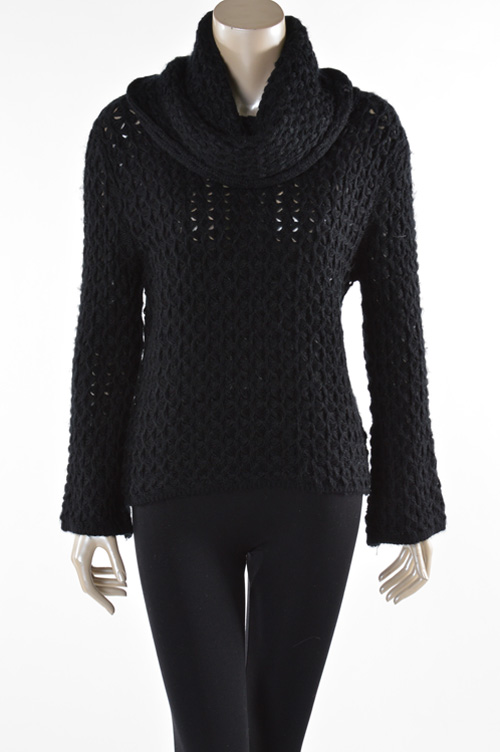 Chunky open knit, bell sleeve, over-sized collar, $59.