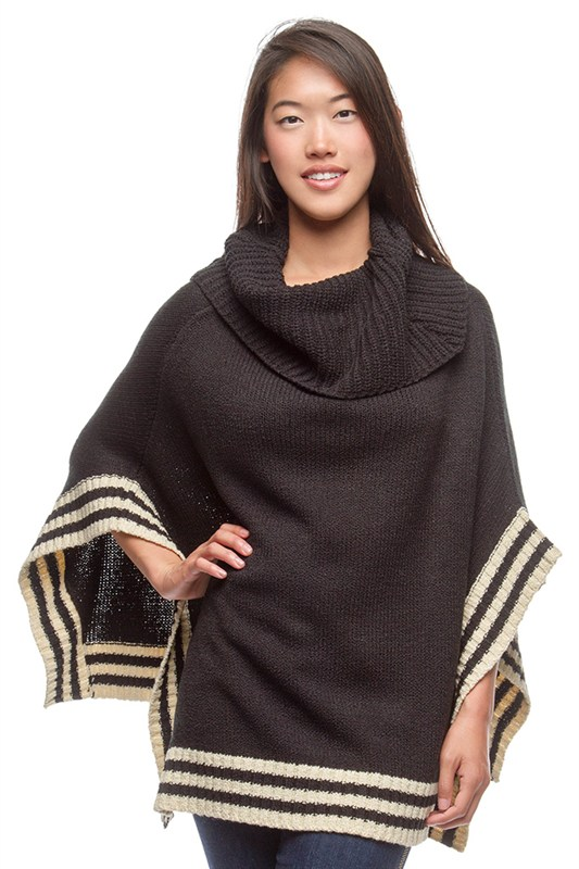Poncho sweater with great trim detail + wide, loose collar. An easy layer for those cooler nights. $69.