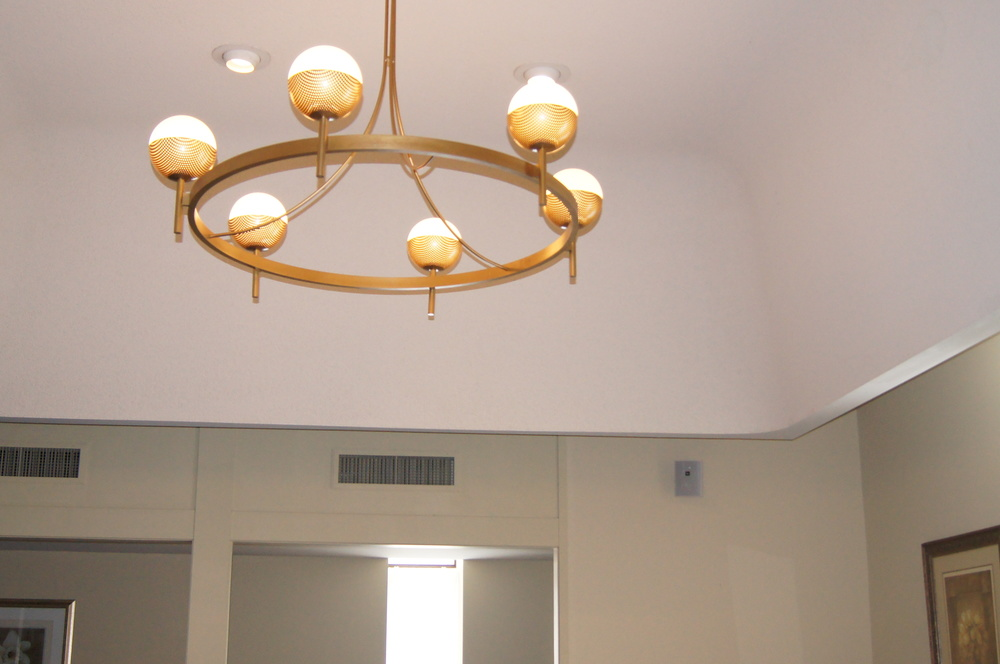 BEFORE:  CEILING COVE + CHANDELIER THERE WERE 4 THROUGHOUT THE BUILDING