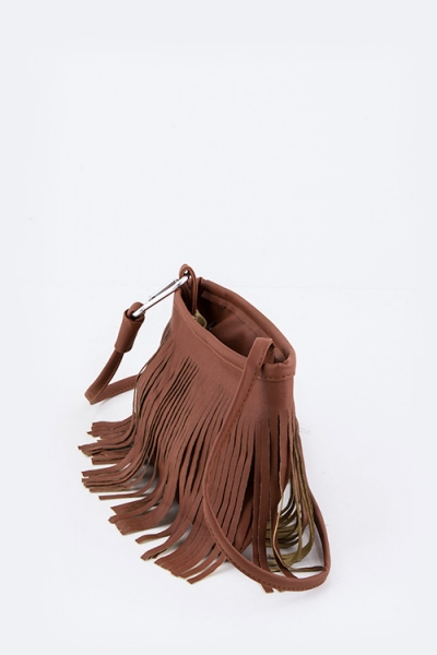 Cross-body Leather Fringe bag $24. Available now in brown + black.