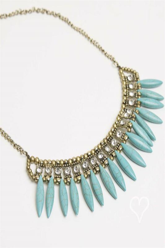 Turquoise Fringe bib style necklace $24. Available now.