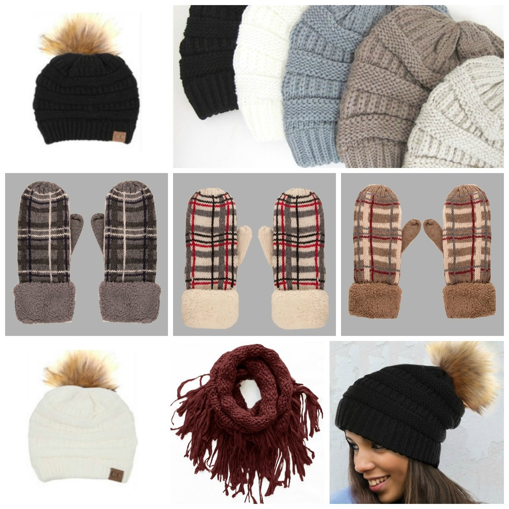 Beanie hats from basic to metallic threading to the trendy fur pom pom. Mix and match with an assortment of mittens and scarves. All under $30.