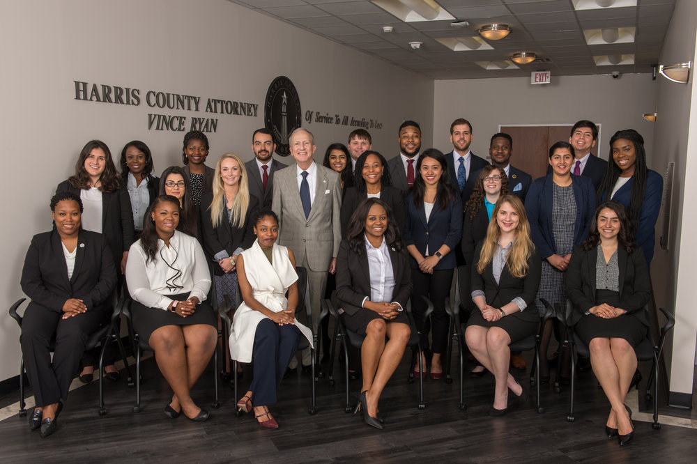 The 2017 class of summer interns at the The Harris County Attorney's Office.