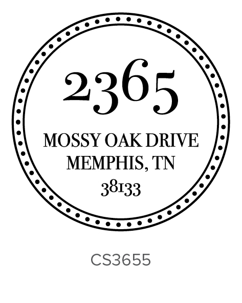each self-inking stamp will be personalized in the exact font and style shown with the text size adjusted accordingly