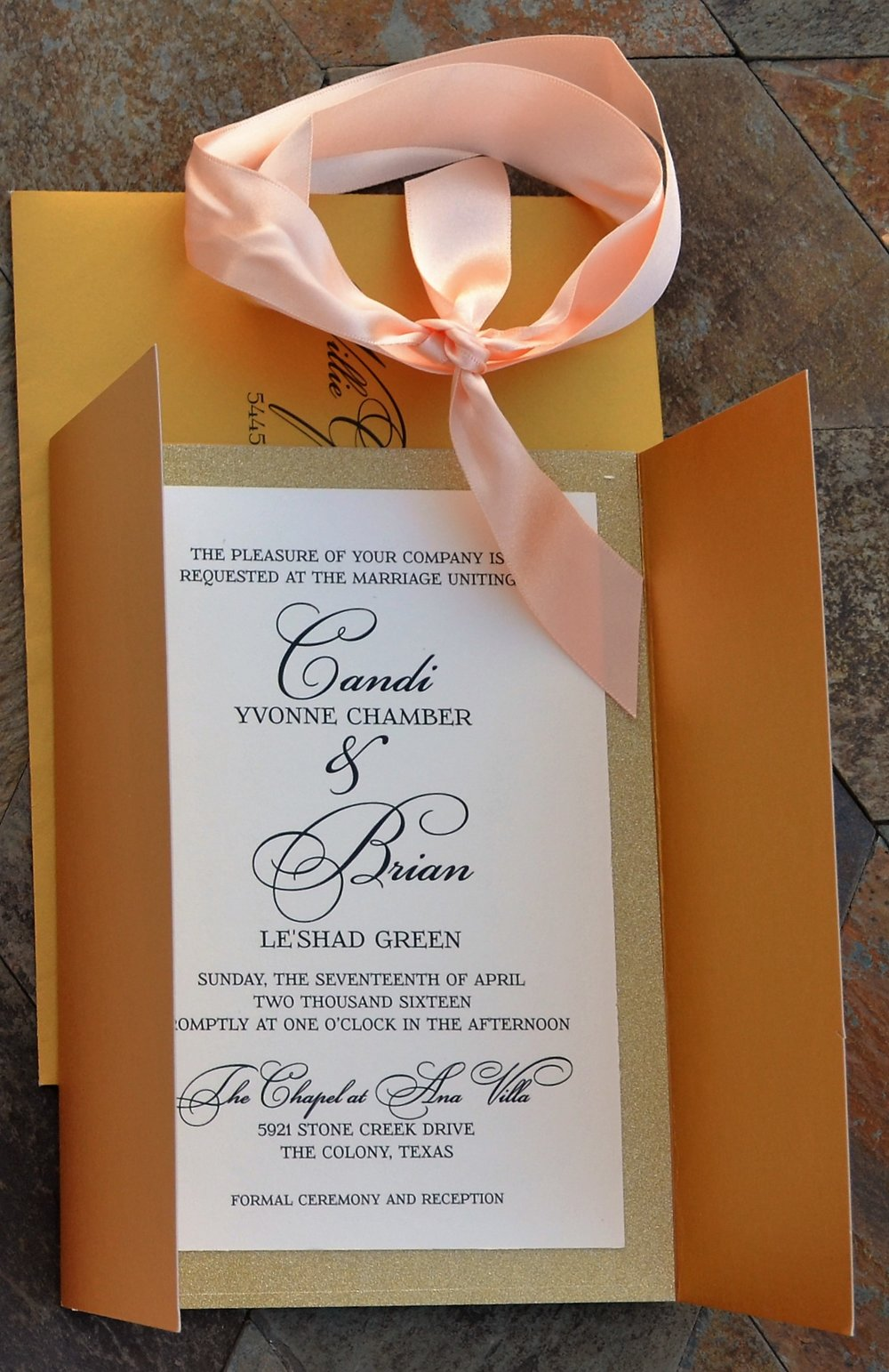 Rich Gold Gatefold Invitation Suite
