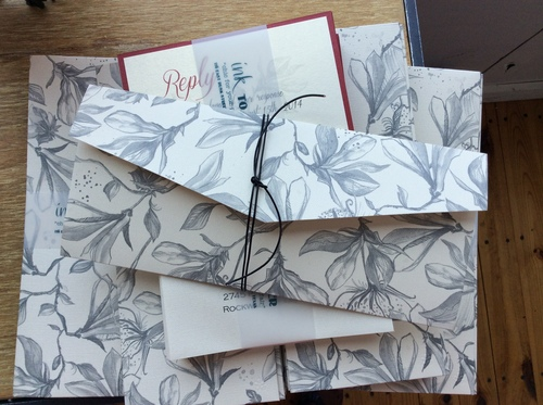 Floral Patterned Pocket Invitation Suite