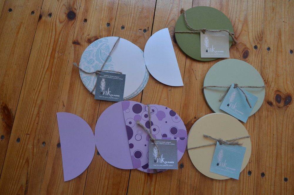 flat matte circle cards .45 each | matte and metallic circle pattern gate fold $2.25 each