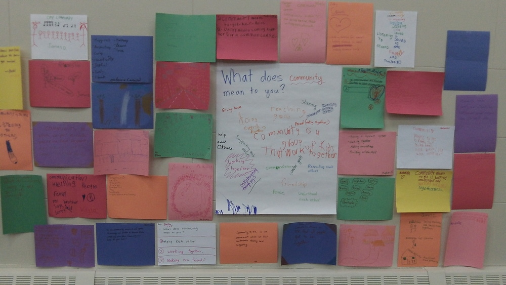 "Part of OMP Field Day on October 18th. We asked OMP students, parents, and faculty to respond to the question, ""What does community mean to you?"" in writing and drawing. Then we created a community wall with everyone's responses."