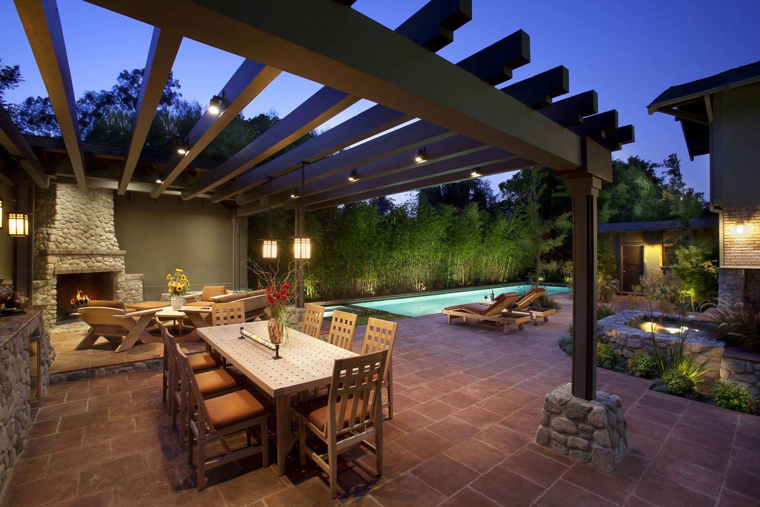 28 gazebo lighting ideas and projects for your backyard for Outdoor pool backyard