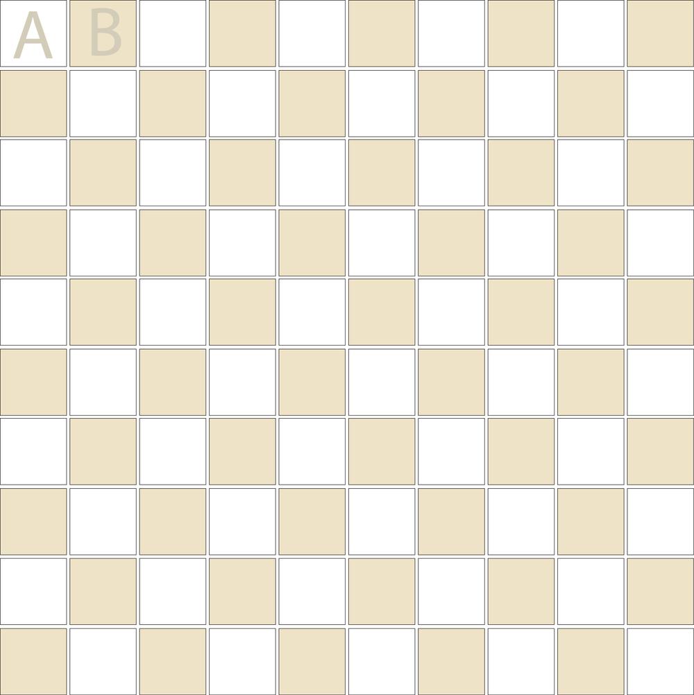 "TESSERA Handcrafted Mosaics  2 Color Designs- CHECKERBOARD  Square1""x1"" TMK-11 (1 sheet)"