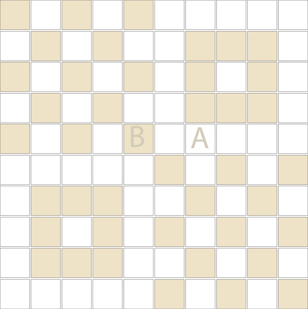 "TESSERA Handcrafted Mosaics  2 Color Designs- CHECKERBOARD  Square1""x1"" TMK-13(1 sheet)"