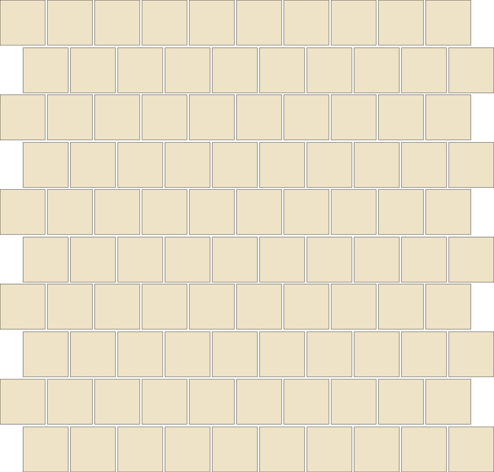 "TESSERA Handcrafted Mosaics  1 Color  Square 1""x1""  BK-TMS   -  Mesh Size (nominal): 11""x11""     - Coverage: 100 pcs/mesh =   0.84 SF/mesh  =  1.19 mesh/SF"