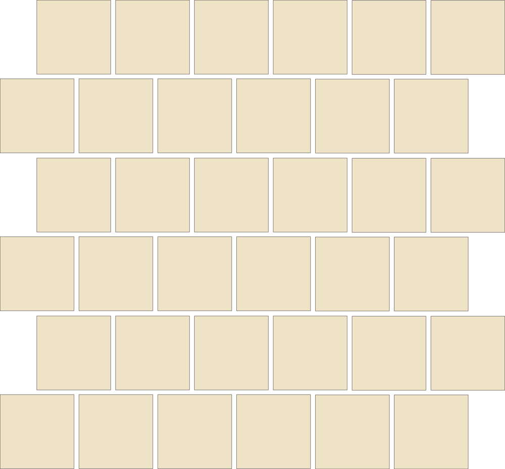 "TESSERA Handcrafted Mosaics  1 Color  Square 2""x2""  BK-TMS   - Mesh Size (nominal): 12.5""x12.5""     - Coverage: 36 pcs/mesh = 1.09 SF/mesh  =  0.92 mesh/SF"