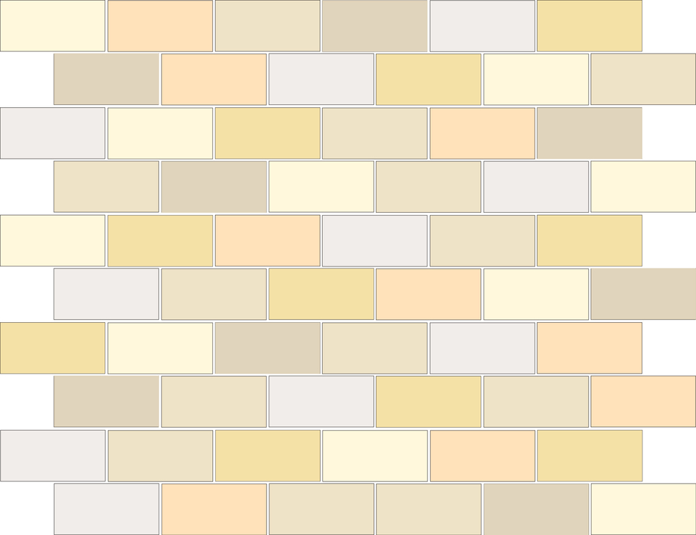 "TESSERA Handcrafted Mosaics  Multicolor - Random (3 to 9 colors)  Rectangle 1""x2""  BK-TMM   -  Mesh Size (nominal): 11""x12-1/2""     - Coverage: 60 pcs/mesh =   0.95 SF/mesh  =  1.05 mesh/SF"