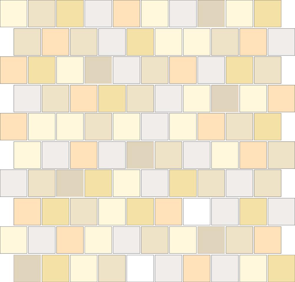 "TESSERA Handcrafted Mosaics  Multicolor - Random (3 to 9 colors)  Square1""x1"" BK-TMM   -  Mesh Size (nominal): 11""x11"" - Coverage:100 pcs/mesh =  0.84 SF/mesh = 1.19 mesh/SF"