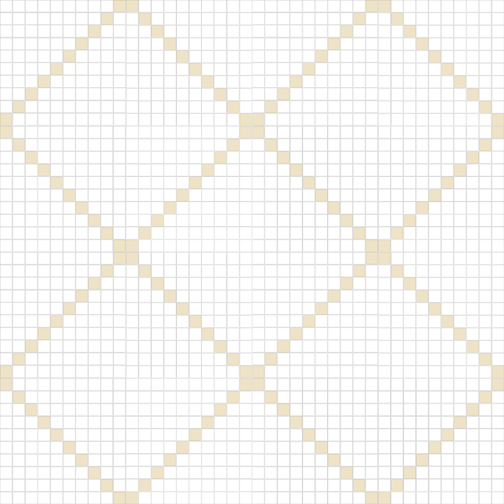 "TESSERA Handcrafted Mosaics  2 Color Designs - DIAGONAL  Square 1""x1""  TMD-11  Design Projection: 16 Sheets (44""x44"")"