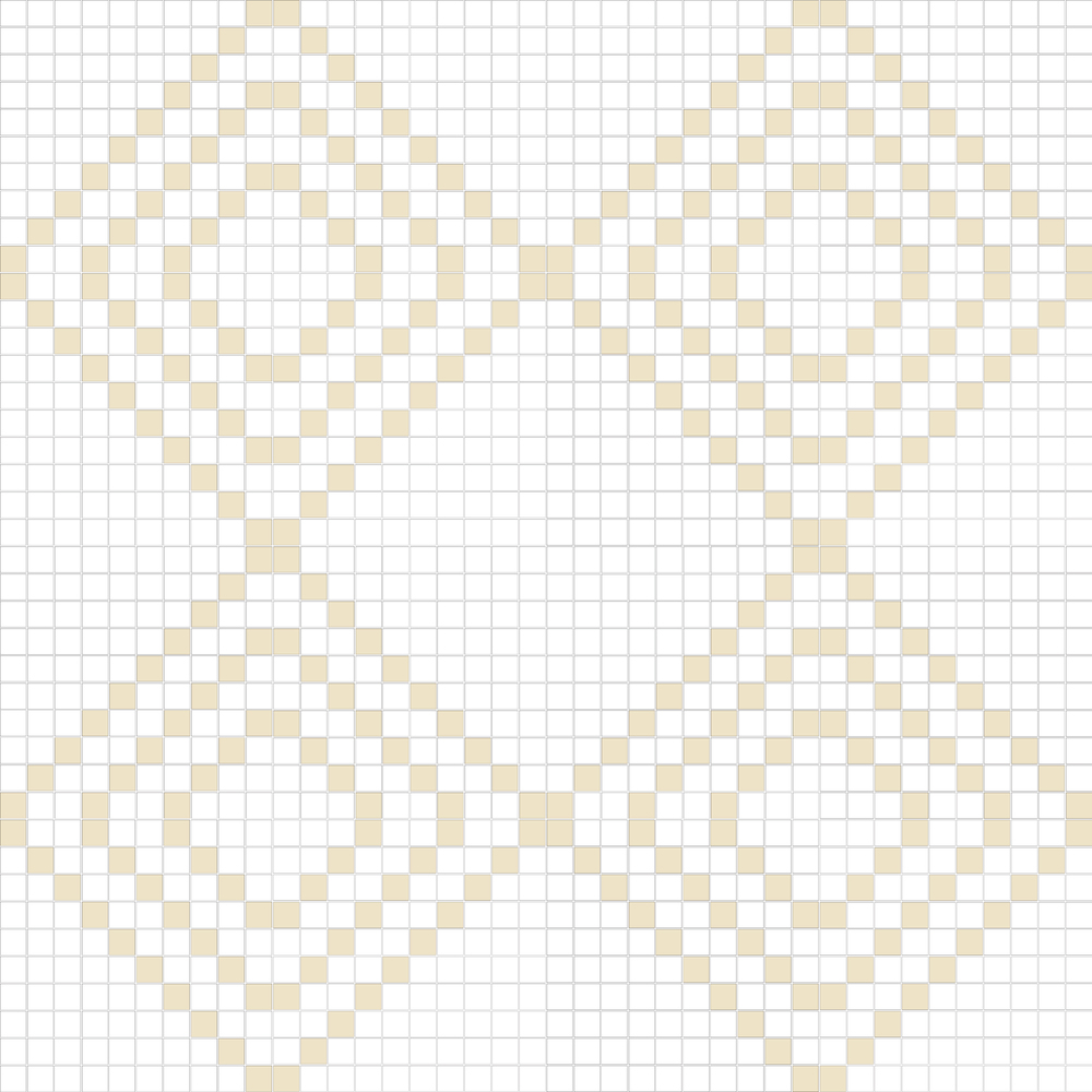 "TESSERA Handcrafted Mosaics  2 Color Designs - DIAGONAL  Square 1""x1""  TMD-13  Design Projection: 16 Sheets (44""x44"")"