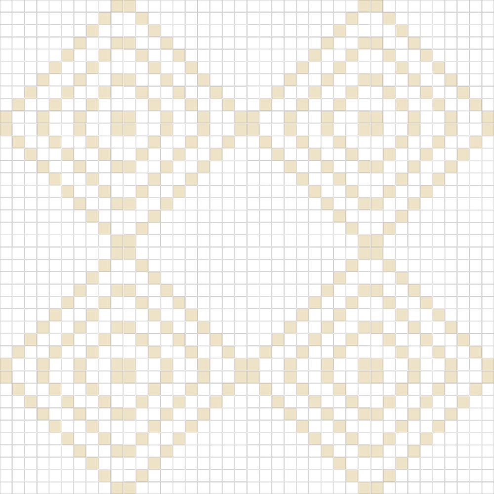 "TESSERA Handcrafted Mosaics  2 Color Designs - DIAGONAL  Square 1""x1""  TMD-14  Design Projection: 16 Sheets (44""x44"")"