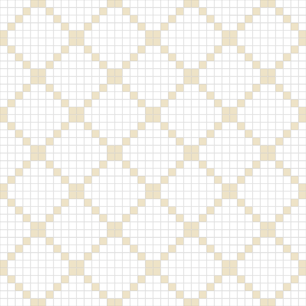 "TESSERA Handcrafted Mosaics  2 Color Designs - DIAGONAL  Square 1""x1""  TMD-15  Design Projection: 16 Sheets (44""x44"")"