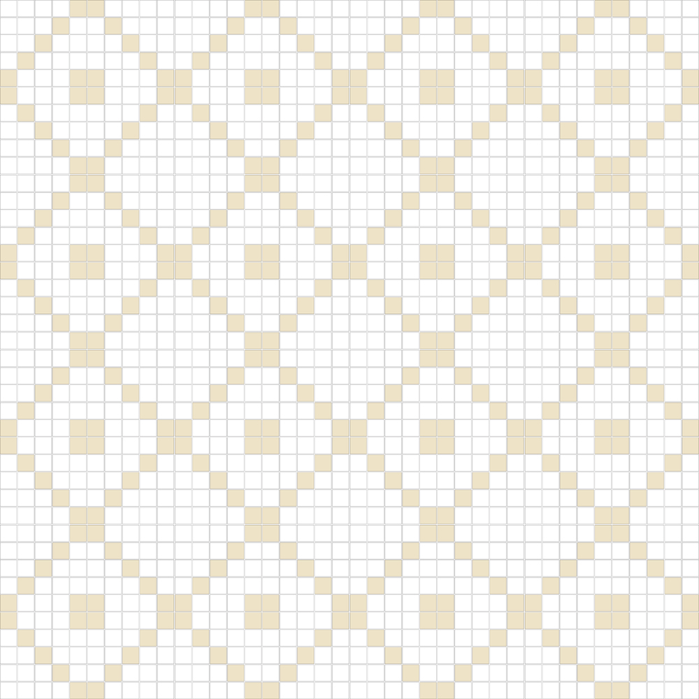 "TESSERA Handcrafted Mosaics  2 Color Designs - DIAGONAL  Square 1""x1""  TMD-16  Design Projection: 16 Sheets (44""x44"")"