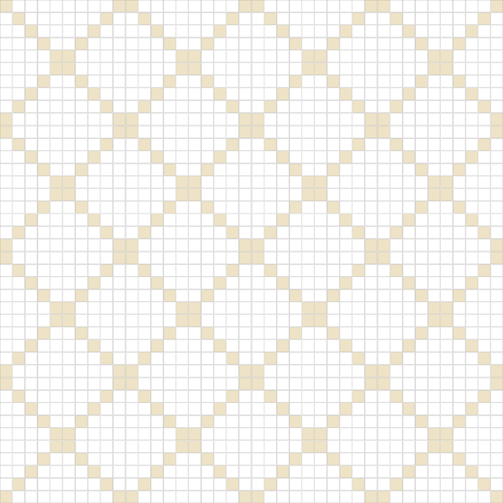 "TESSERA Handcrafted Mosaics  2 Color Designs - DIAGONAL  Square 1""x1""  TMD-30  Design Projection: 16 Sheets (44""x44"")"