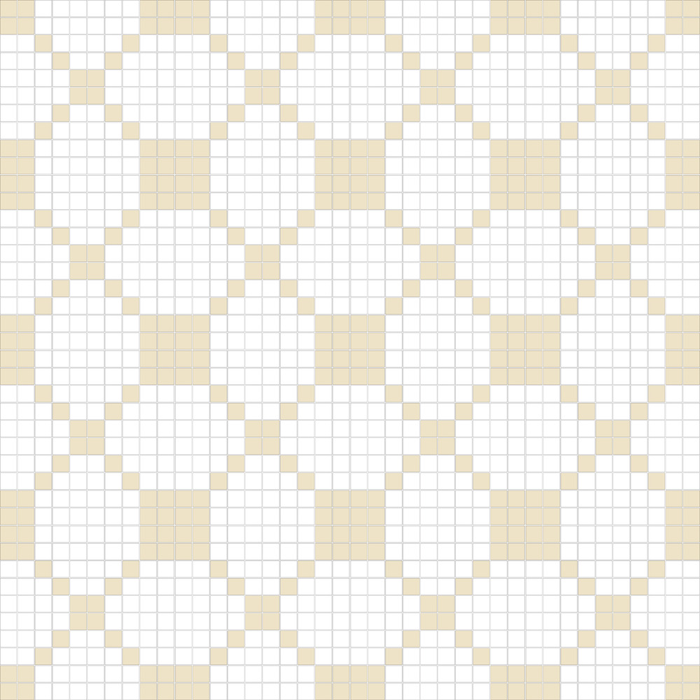 "TESSERA Handcrafted Mosaics  2 Color Designs - DIAGONAL  Square 1""x1""  TMD-31  Design Projection: 16 Sheets (44""x44"")"