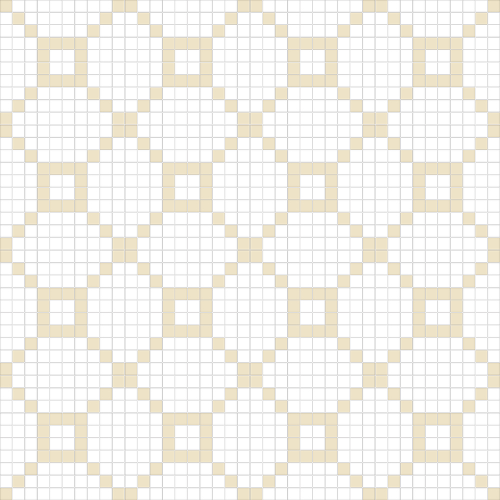 "TESSERA Handcrafted Mosaics  2 Color Designs - DIAGONAL  Square 1""x1""  TMD-35  Design Projection: 16 Sheets (44""x44"")"