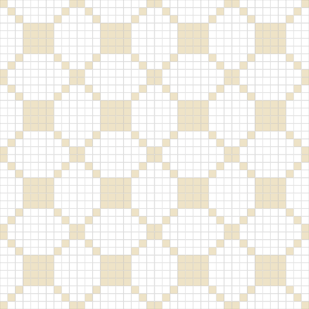 "TESSERA Handcrafted Mosaics  2 Color Designs - DIAGONAL  Square 1""x1""  TMD-36  Design Projection: 16 Sheets (44""x44"")"