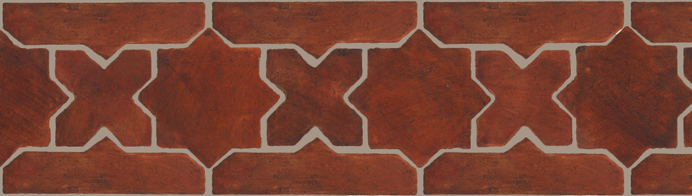 "Pedralbes Terracotta P&C:  BORDERS: STAR/CROSS + BORDER ""SC""  Pattern # PFB-210  Option: OHS-PSOW + OHS-PSOW"