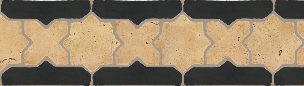 "Pedralbes Terracotta P&C:  BORDERS: STAR/CROSS + BORDER ""SC""  Pattern # PFB-213  Option: VTG-PGGW + VTG-PGCB"
