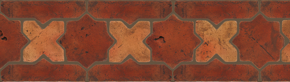 "Pedralbes Terracotta P&C:  BORDERS: STAR/CROSS + BORDER ""SC""  Pattern # PFB-212  Option: VTG-PSOW-PSTR + VTG-PSOW"