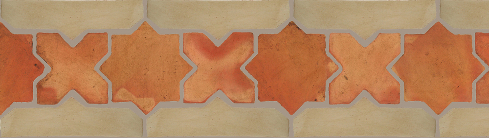 "Pedralbes Terracotta P&C:  BORDERS: STAR/CROSS + BORDER ""SC""  Pattern # PFB-215  Option: OHS-PSTR + OHS-PGDW"