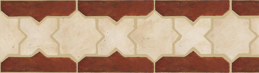 "Pedralbes Terracotta P&C:  BORDERS: STAR/CROSS + BORDER ""SC""  Pattern # PFB-216  Option: OHS-PGAW + OHS-PSOW"