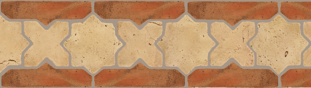 "Pedralbes Terracotta P&C:  BORDERS: STAR/CROSS + BORDER ""SC""  Pattern # PFB-218  Option: VTG-PGGW + VTG-PSTR"