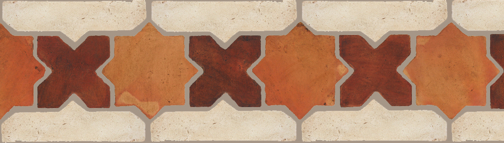 "Pedralbes Terracotta P&C:  BORDERS: STAR/CROSS + BORDER ""SC""  Pattern # PFB-221  Option: OHS-PSTR-PSOW + VTG-PGAW"