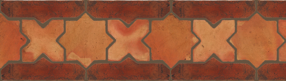 "Pedralbes Terracotta P&C:  BORDERS: STAR/CROSS + BORDER ""SC""  Pattern # PFB-220  Option: OHS-PSTR + VTG-PSOW"