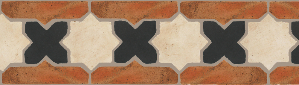 "Pedralbes Terracotta P&C:  BORDERS: STAR/CROSS + BORDER ""SC""  Pattern # PFB-222  Option: OHS-PGAW-PGCB + VTG-PSTR"