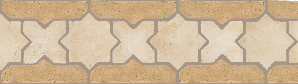 "Pedralbes Terracotta P&C:  BORDERS: STAR/CROSS + BORDER ""SC""  Pattern # PFB-223  Option: OHS-PGAW + VTG-PGGW"