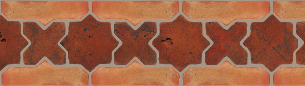 "Pedralbes Terracotta P&C:  BORDERS: STAR/CROSS + BORDER ""SC""  Pattern # PFB-225  Option: VTG-PSOW + OHS-PSTR"