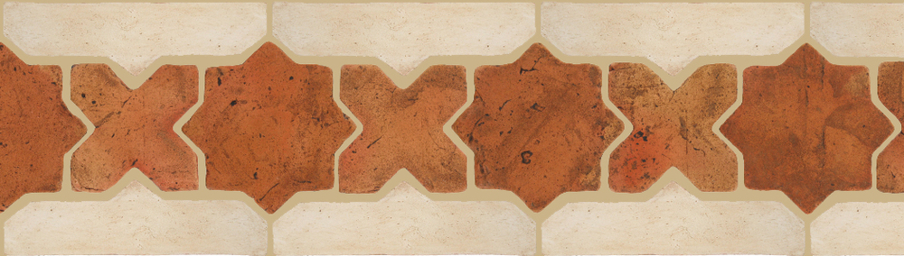 "Pedralbes Terracotta P&C:  BORDERS: STAR/CROSS + BORDER ""SC""  Pattern # PFB-226  Option: VTG-PSTR + OHS-PGAW"