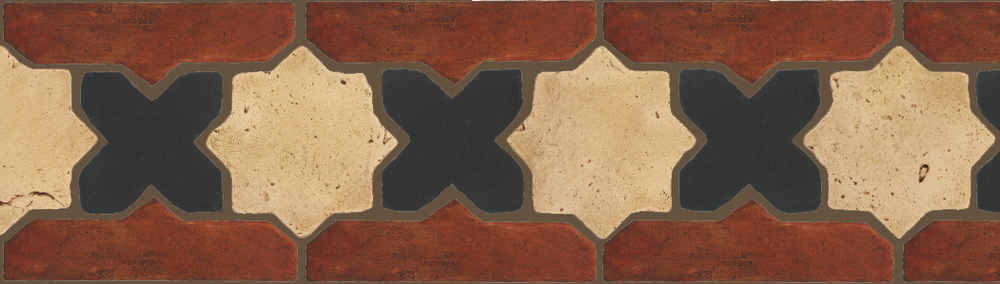 "Pedralbes Terracotta P&C:  BORDERS: STAR/CROSS + BORDER ""SC""  Pattern # PFB-227  Option: VTG-PGGW-PGCB + OHS-PSOW"