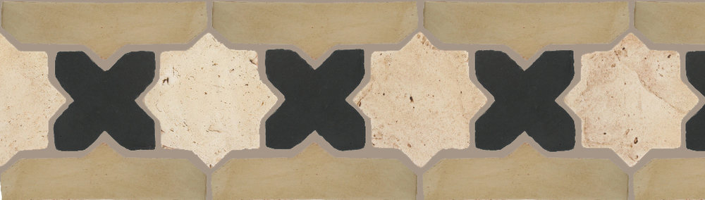 "Pedralbes Terracotta P&C:  BORDERS: STAR/CROSS + BORDER ""SC""  Pattern # PFB-228  Option: VTG-PGAW-PGCB + OHS-PGDW"